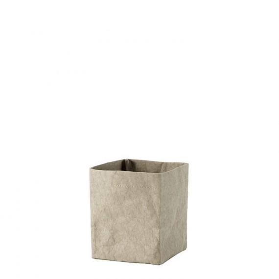 Cesta de celulosa y lino 12x12x15 cm