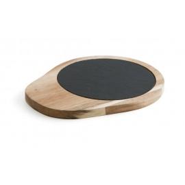 Tala de presentacion de pizarra y madera redonda