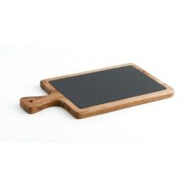 Tabla de presentación de madera con pizarra 34x18cm