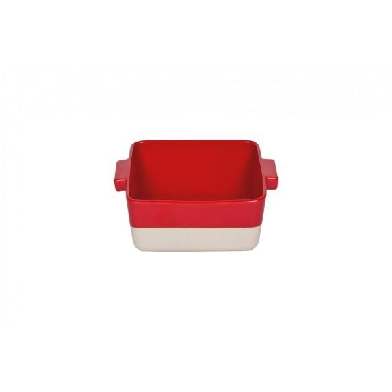 Fuente de horno rojo-crema Bitossi 25.5 x 25.5 cm