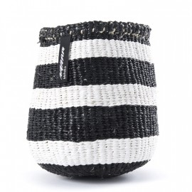 Cesta xs -mifuko- rayas gruesas en blanco y negro  16x15cm