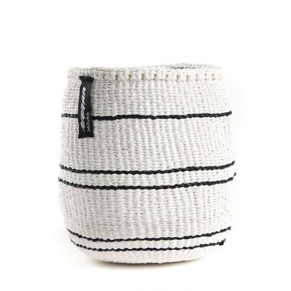 Cesta xs -mifuko- blanco con 5 rayas negras 16x15cm