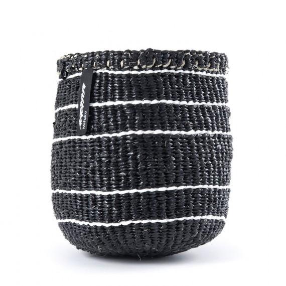 Cesta xs -mifuko- negro con rayas blancas 16x15cm