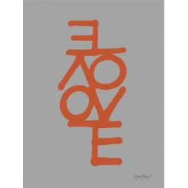 "Lamina con letras naranjas ""love"" de ylva skarp 30x40 cm"