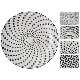 Plato cerámica dibujos hexágonos blanco y negro 28cm