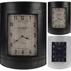 Reloj de pared en color blanco de metal 39x55x12cm