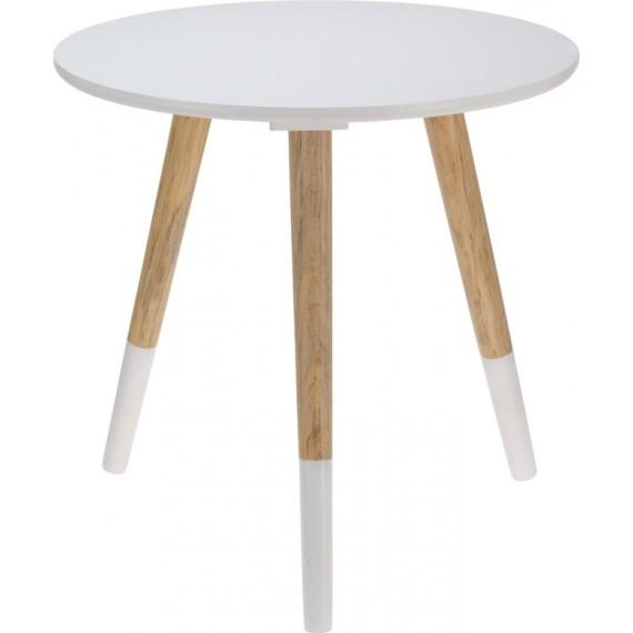 Mesa redonda con 3 patas  en madera y lacada blanca
