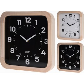 Reloj de pared fondo blanco marco madera  30x30cm