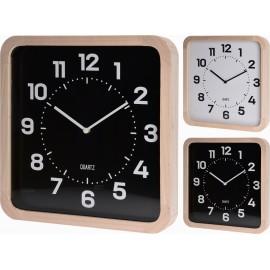 Reloj de pared de madera y fondo negro 40x40cm