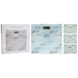 Básculas de baño con letras negras en cristal  28x28cm