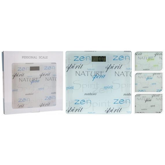 Básculas de baño con letras azules en cristal 28x28cm