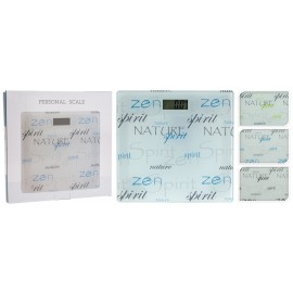Básculas de baño con letras verdes en cristal  28x28cm