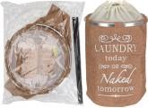 Cubo de ropa sucia de tela en color marrón claro de 54x38cm