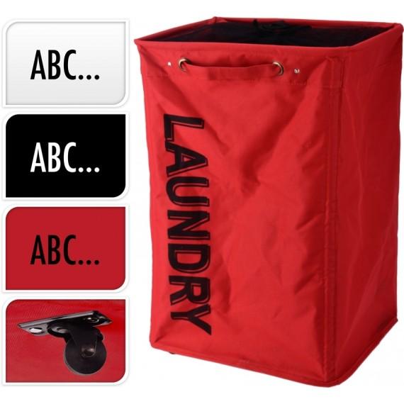 Saco para la ropa sucia fondo rojos y letras negras
