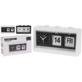 Reloj despertador blanco negro con doble pantalla 19x6x11cm