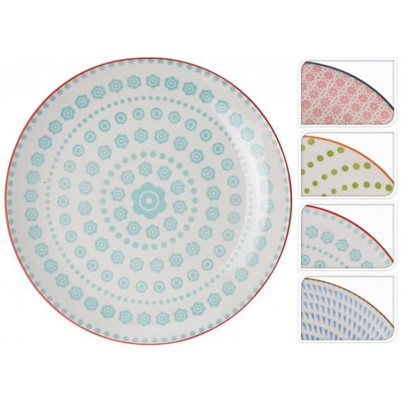 Plato ceramica con triángulos zules 28cm