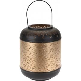 Farol portavelas color oro/negro 26cm