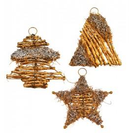 Colgante estrella dorada y plata
