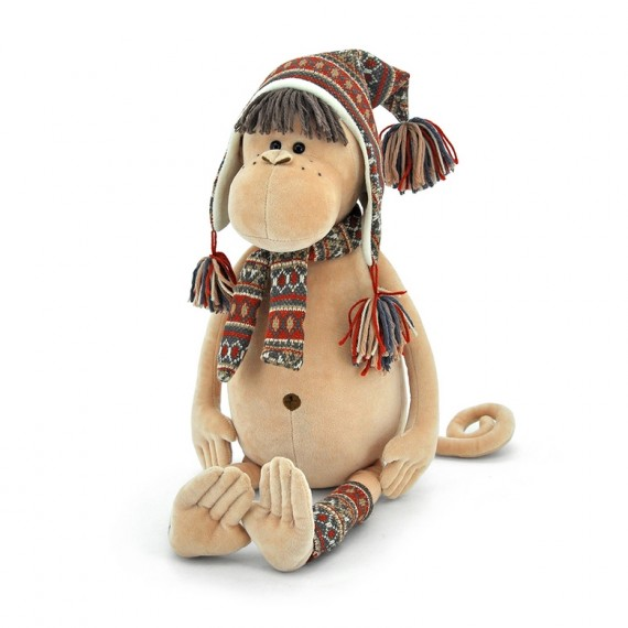 Mono de peluche con gorro y bufanda  35cm