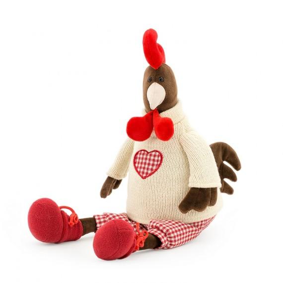 Gallo peluche con pantalones de cuadros rojos