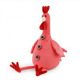 Gallo peluche con cuadros rojos