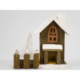 Casa de madera pequeña con 1 led de 16 cm