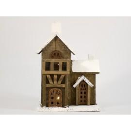 Casa de madera con 5 leds de 30 cm