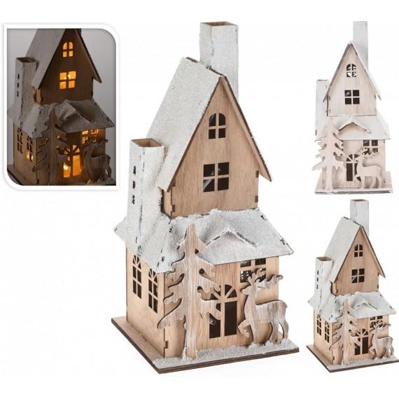 Casa madera color natural con led