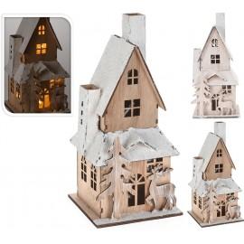 Casa madera color blanco  con led