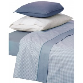 Juego de sábanas azul Vichy cama 150 cm