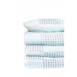 Edredón estampado azul,blanco y marrón 240x260 cm