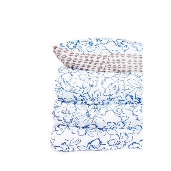 Edredón blanco con estampado floral azul 240x260 cm