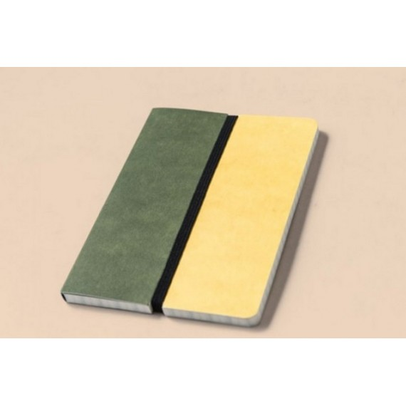 Libreta Happily Ever Paper Divido verde-amarillo 12x16,5 cm