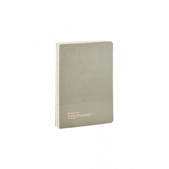 Cuaderno geométrico Monograph gris-verde 13x18 cm